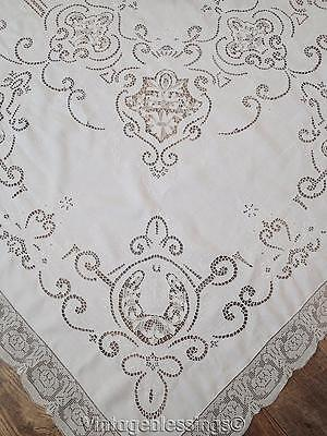 Glorious White Linen Point de Venise +Filet Lace Antique Banquet Tablecloth 120""