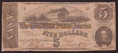 1862  $5  Confederate States Currency  T-53