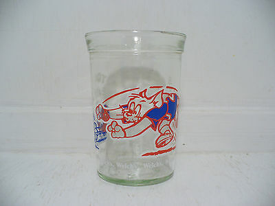 Tom & Jerry Cat Mouse Cartoon Duo Football Drinking Glass 1991 Welch's Jelly Jar