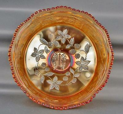 CARNIVAL GLASS - FENTON BUTTERFLY & BERRY Marigold Master Berry Bowl 1355