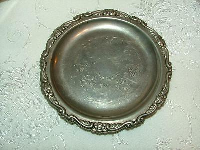 VINTAGE Silver Plate COASTER or TRAY Ornate Edge Scrolled Design