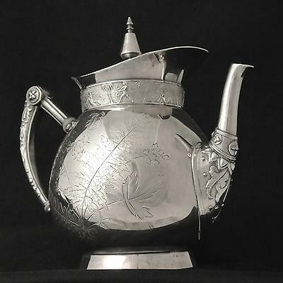 Victorian Rogers Smith Aesthetic Tropical Ferns Silver Plate Tea Pot Coffee Pot