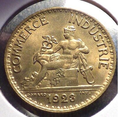 France 1 Franc 1923, XF Coin, Chamber of Commerce Issue, KM 876