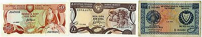 Central Bank of Cyprus, 1964-1996, 3 notes, 1964 250 Mils, P-41a + others