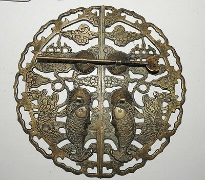 Antique Chinese Ornate Bronze Oval Door Pin Latch