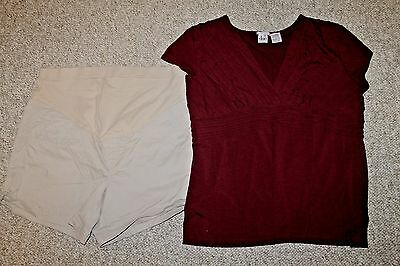 Lot Duo Old Navy maternity Outfit sz 12 L XL khaki shorts stretch dress top