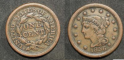 1856  U.S. Large Cent - Solid VF, very slightly porous    stk#WB84