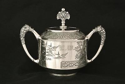 Victorian Rogers & Smith Silver Plate Japanese Revival East Lake Tea Caddy Sugar