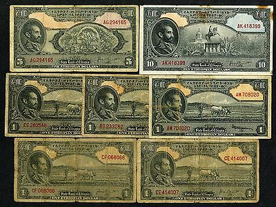 Ethiopia. State Bank of Ethiopia. 1945 Issue $1, $5, $10; P-12a, b (4); 13b; 14b