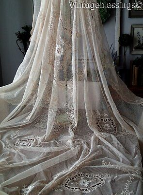 "Romantic Antique Lace! French Net Tambour Embroidered Lace Coverlet 98"" x 77"""