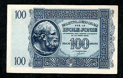 Greece. Ionian islands. Biglietto a Corso. 100 Drachmae. P-M15. Choice AU