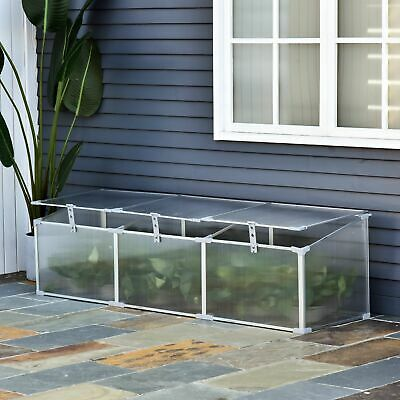"Outsunny 71"" Aluminum Vented Cold Frame Greenhouse - Silver/Transparent"