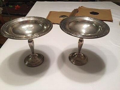 Pair Of Vintage Courtship International Sterling Silver Raised Compote