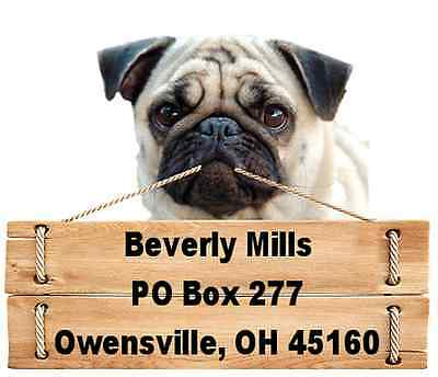 Pug return address labels die cut to shape of dog and sign