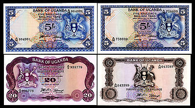 Bank of Uganda. 1966-82 Issues 5, 10, 20, 50, 100/- 16 Pieces Choice to Gem Unc
