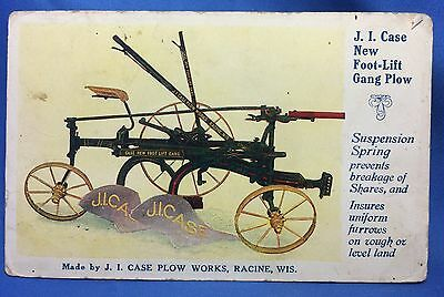 1912 Antique Orignl JI CASE Gang PLOW WORKS Farm advertising Postcard RACINE Wis