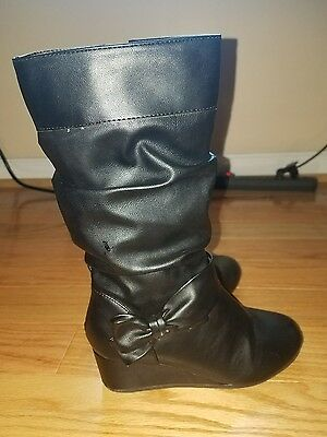 Rampage girls black wedge bow boots size 1