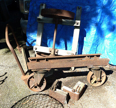 Vintage Railroad Station Platform Wagon,Hit & Miss Engine Cart,Howe Iron Wheels