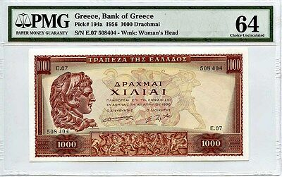 Greece: 1956 1000 Drachmai PMG 64 (Wmk: Woman's Head, Pick #194a) [E.07 508404]