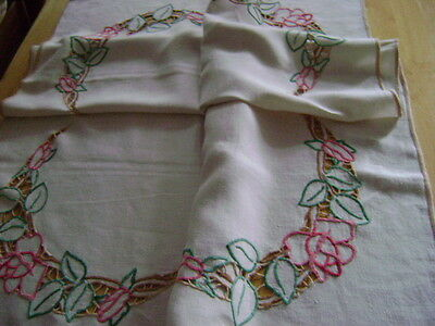 Pretty Hand Embroidered Cream Linen Tablecloth, Red & Pink Roses,