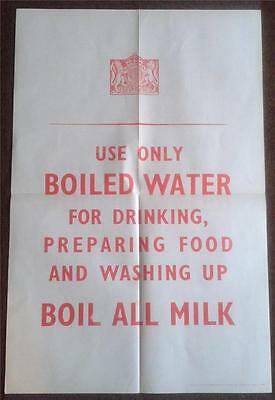 A 100% Original Ww2 Wwii Poster Use Only Boiled Water Boil All Milk Etc