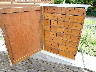 Antique Apothecary Med Cabinet Cupboard ~ 34 Drawers Hardware Storage Organizer