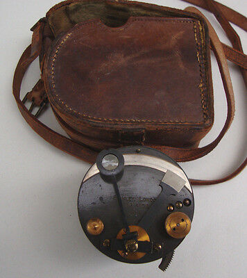 Dated 1919 leather cased Stanley of London cylindrical drum sextant