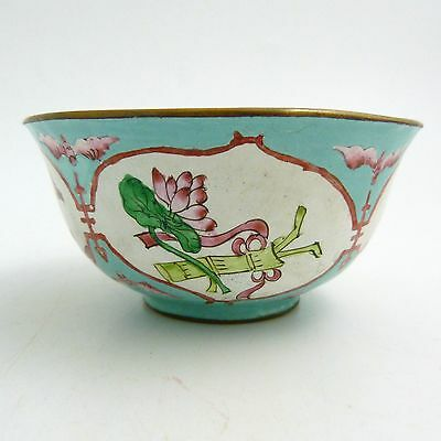 19th CENTURY CHINESE CANTON ENAMEL BOWL WITH BATS AND BUDDHISTIC EMBLEMS