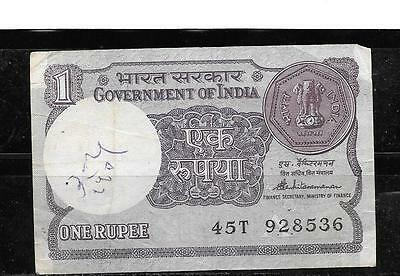 INDIA #78Ac 1988-A RUPEE OLD VG USED CURRENCY BILL BANKNOTE NOTE PAPER MONEY