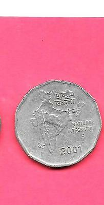 India Indian Km121.5 2001-N Vf-Very Fine-Nice Large 2 Rupees Coin