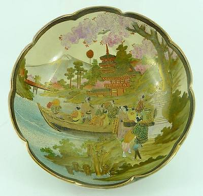 Antique Japanese Satsuma Bowl - Signed - People Heading to Temple with Offerings
