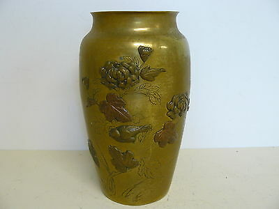 Antique Meiji Period Japanese Mixed Metal Decorated Vase Possibly Nogawa
