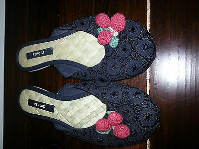 Black Fabric  Shoes With Cherries -     Flats Size 6M