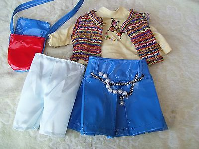 Alte Puppenkleidung Butterfly Rainbow Skirt Outfit vintage Doll clothes 40c Girl