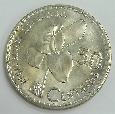 1962 Guatemala 50 Centavo Beautifully Uncirculated .720 Silver Coin Reeded Edge