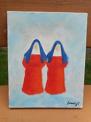 Original Oil Painting Signed Two Nuns Orange & Blue On Canvas