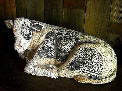 "Large Rustic 15"" Resting Cow Primitive Country Display Figure"