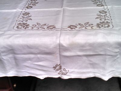 Linen Tablecloth Vintage Cross Stitch  Roses Lace Insert Corners