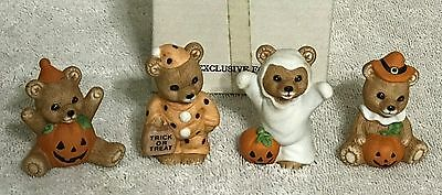 Homco Halloween Bears Trick or Treat Ghost Pumpkin 5311 Porcelain Figurines VGC