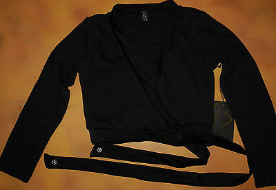 NWT Bloch Dance Ballet Black Long Sleeve Crossover Wrap Top Sm Child 4/6 CZ6329