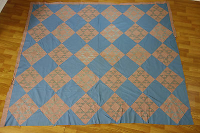 "Vintage Handmade Patchwork Quilt Top Topper Flying Geese Pattern 86"" x 72"""