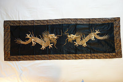 Antique 19th C. Ching Dyn Chinese Silk Panel Metallic Embroidered Dragon Textile