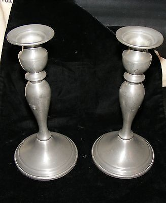 """Vintage Web Pewter Weighted Base Candlesticks 8 1/2"""" Tall GUC"""