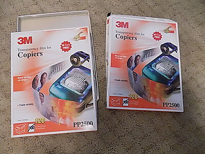 Two opened boxes of 3M Transparency Film for Copiers