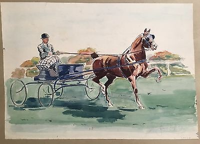 Original signed Watercolor Painting Hackney Cart / Carriage Pony Horse ~