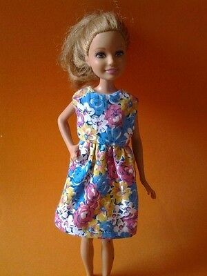"Barbie Sister 9"" STACIE Doll Clothes Multicolor Floral Dress Handmade New"