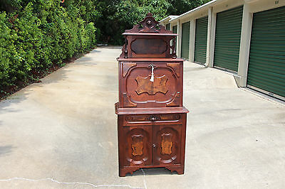 Fancy Burl Walnut Victorian Slant Front Desk with Lion Head Gallery ~ Ca.1870