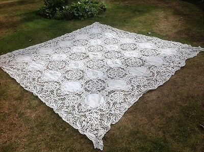 Fine 19thC Antique French Battenburg Tape Lace Table Cloth Bed Cover Throw TLC