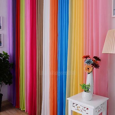 Sheer Voile Door Window Curtain Floral Drapes Fabric Curtain Panel Scarf Valance