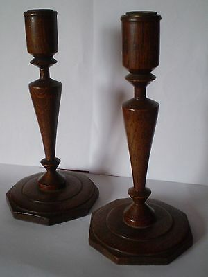 Pair Of Oak Art Deco Candlesticks.....rare Shape...